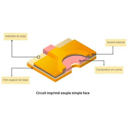 Schéma représentant la technologie simple face en électronique flexible